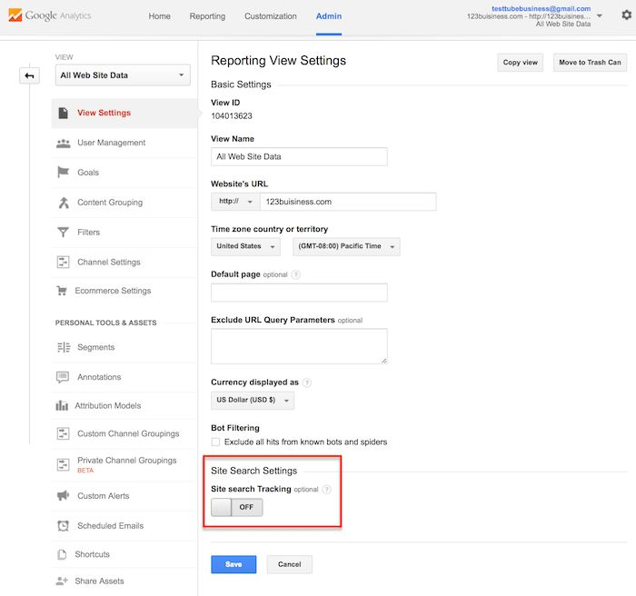 site search settings in google analytics