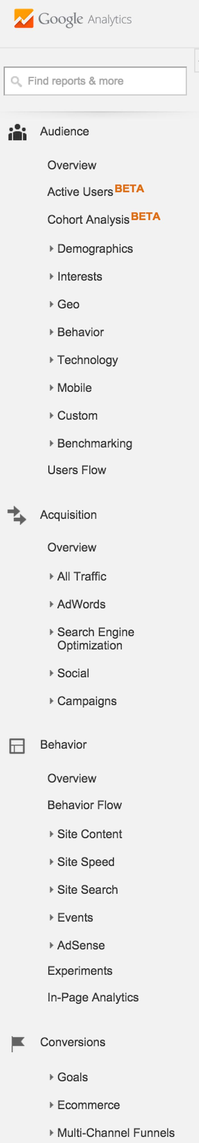 types of google analytics reports