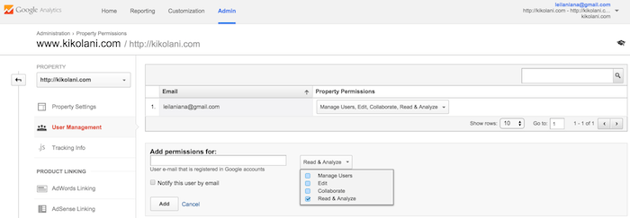 user permissions google analytics