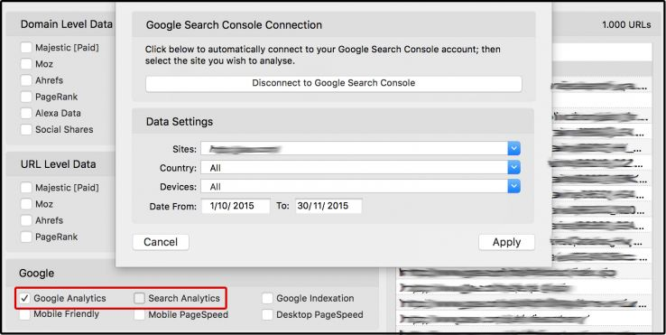 Connecting URL Profiler to Google Search Console