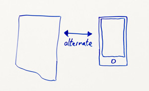 """Close-up of whiteboard: a normal desktop page on the left with a two-sided arrow with """"alternate"""" written underneath, a drawing of a mobile phone to the right"""