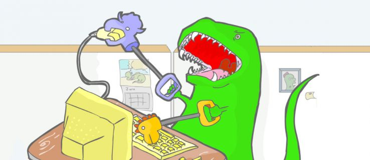 The first ever dinosaur to use Google.