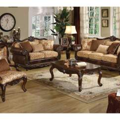 Leather And Fabric Sofa In Same Room Chinese Table Royal Furniture Gifts Remington Bonded Cherry Loveseat W 3 Pillows Acme