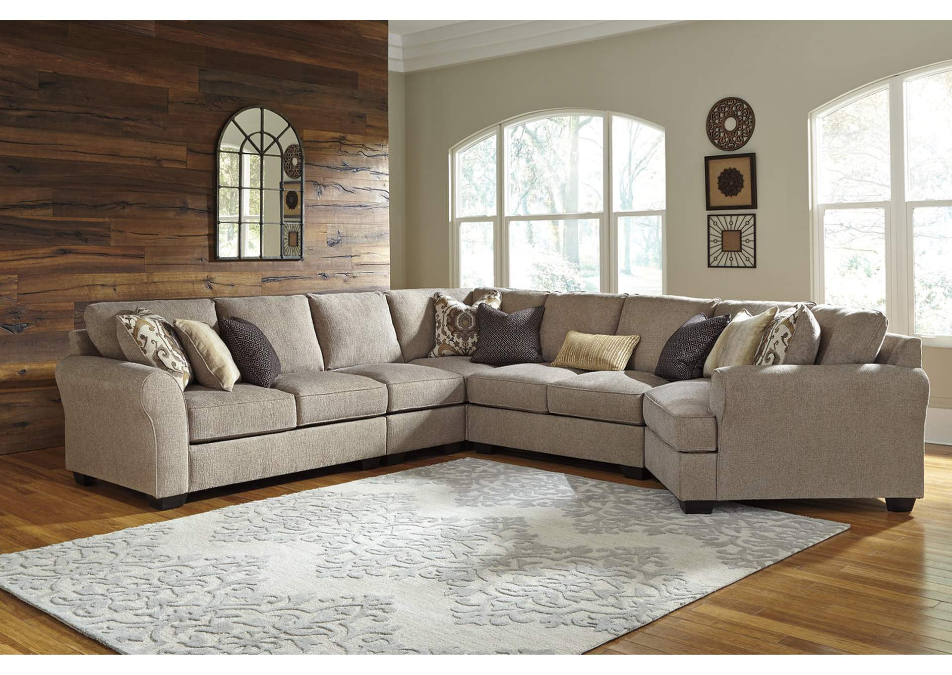 gray microfiber sectional sofas orange and brown sofa sets ivan smith pantomine driftwood extended w/right ...