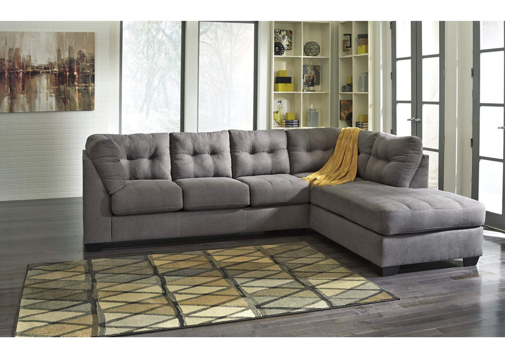 living room furniture newark nj fan size ndc stores maier charcoal right arm facing chaise end sectional benchcraft