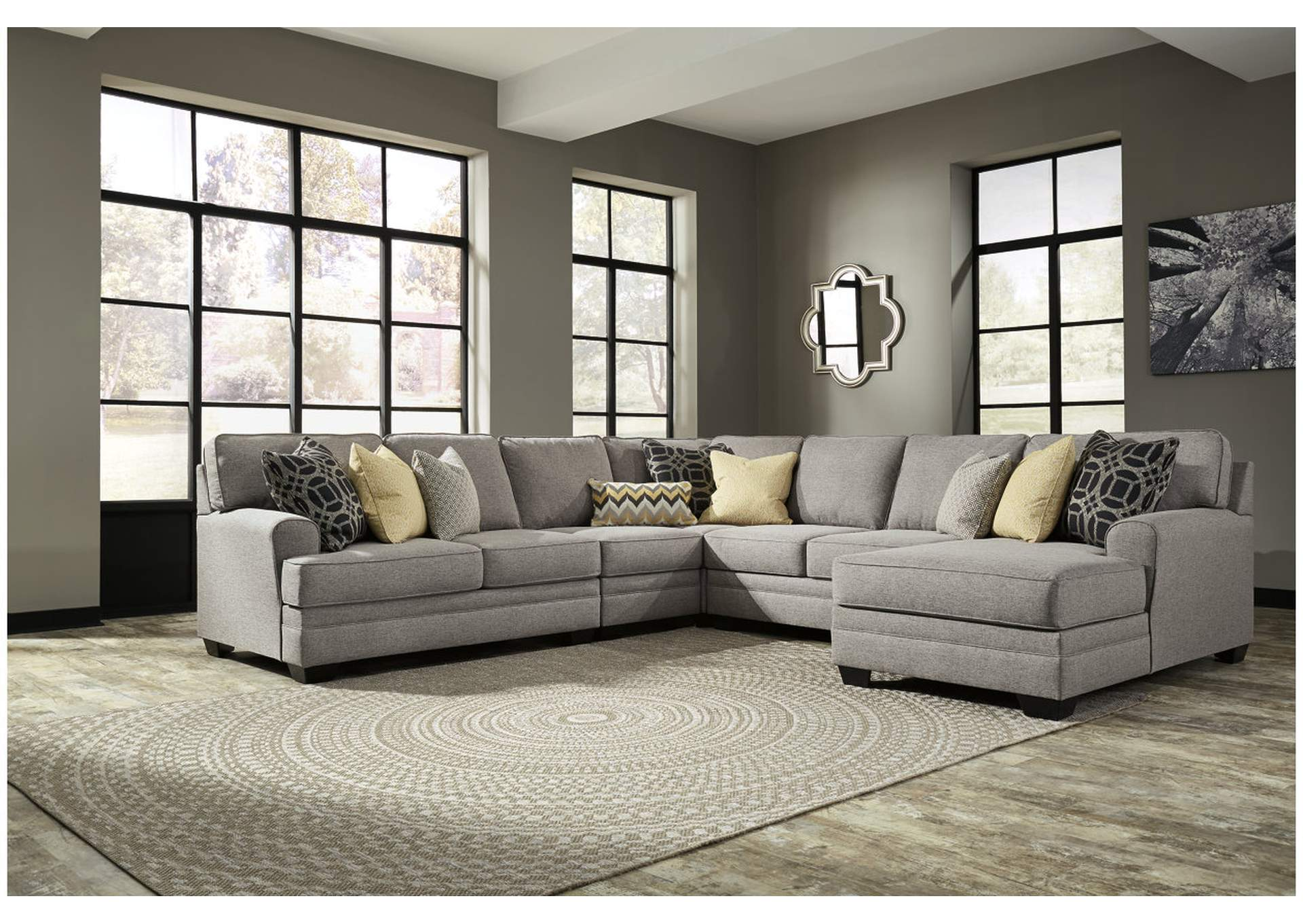 ashley faux leather sofa reviews electric ivan smith cresson pewter left facing loveseat corner ...