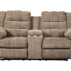 Double Recliner Chairs Chair Rentals Nyc Roses Flooring And Furniture Workhorse Cocoa Reclining Loveseat W Console Signature Design By Ashley