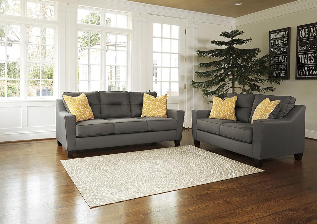 Squan Furniture Forsan Nuvella Gray Sofa and Loveseat
