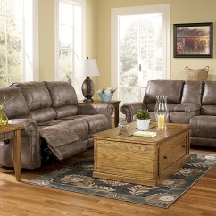 Living Room Loveseat Open Small Kitchen Center Oberson Gunsmoke Reclining Sofa Signature Design By Ashley