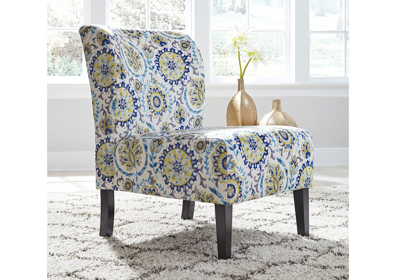 Blue Patterned Chair Furniture Exchange Triptis Blue Patterned Accent Chair