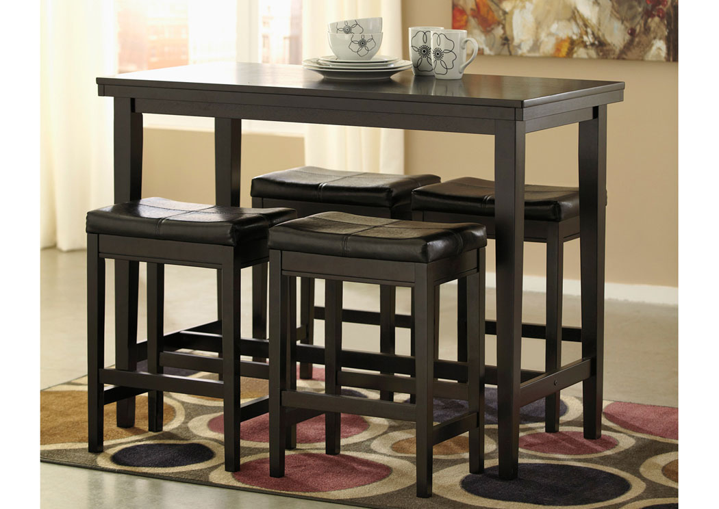 bar height tables and chairs wedding chair covers with ruffles oak furniture liquidators kimonte rectangular counter table w 4 dark brown barstools signature design by ashley