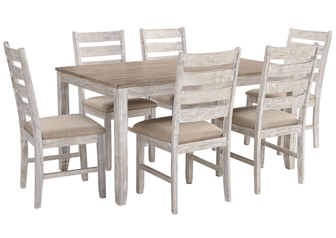 Cheap Dining Room Table And Chairs River City Furniture Skempton White Light Brown 7 Piece Dining
