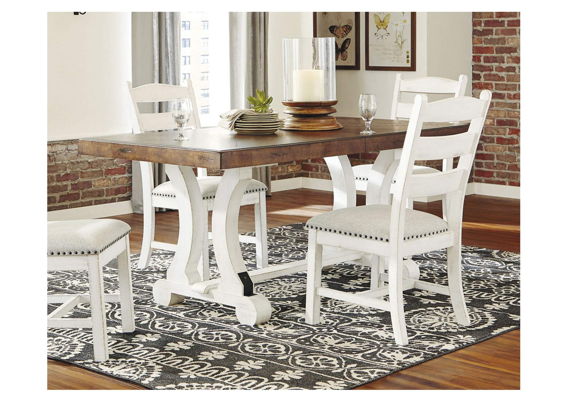 Valebeck White Brown Dining Table Homeline Furniture