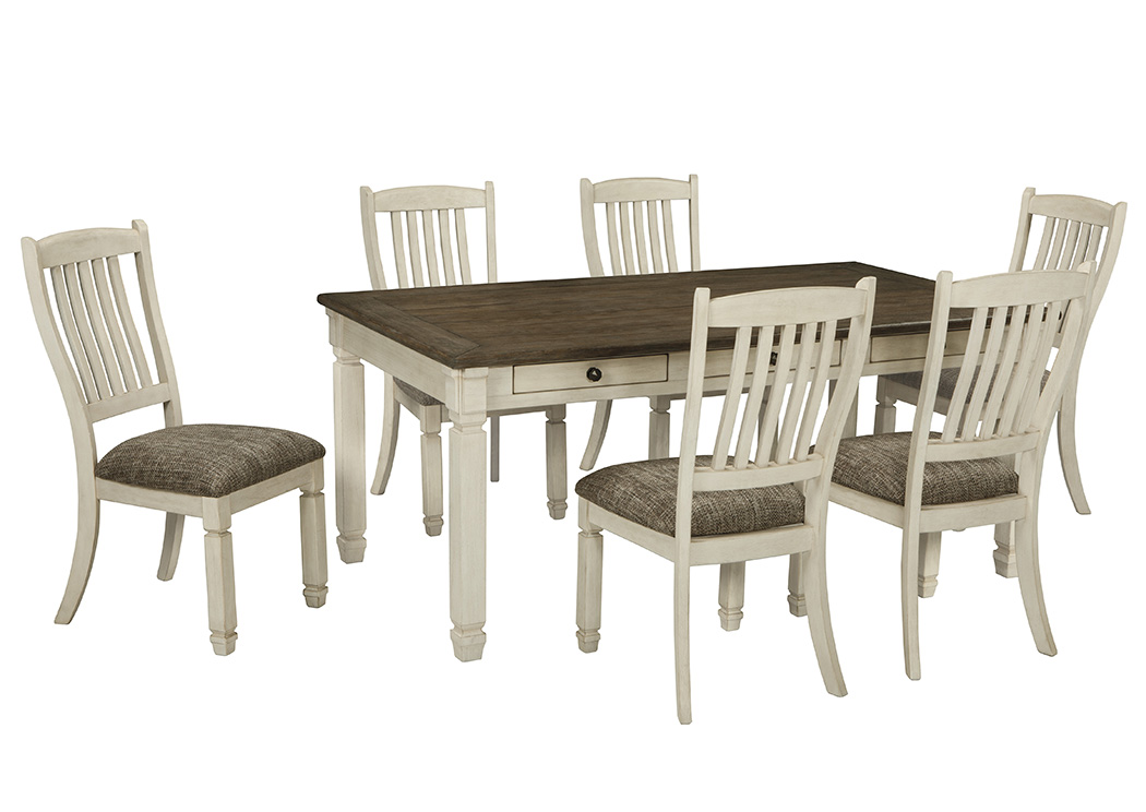 antique white dining chairs dressing table chair harlem furniture bolanburg rectangular room w 6 upholstered side signature design