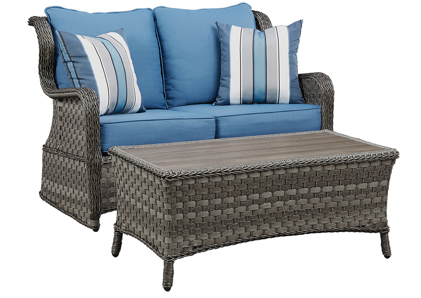 blue fl sofa mainstays sleeper with memory foam mattress grey tallahassee discount furniture abbots court gray loveseat glider w table outdoor by ashley