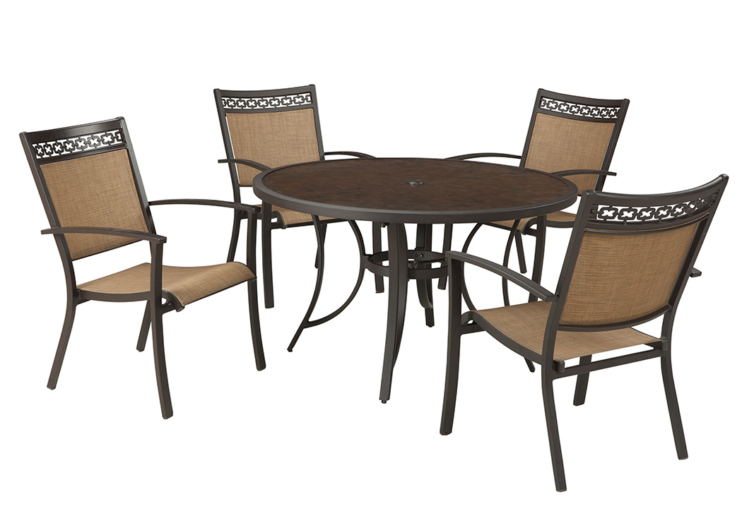 sling chair outdoor revolving photo furniture plus carmadelia tan brown round dining table w 4 chairs by ashley