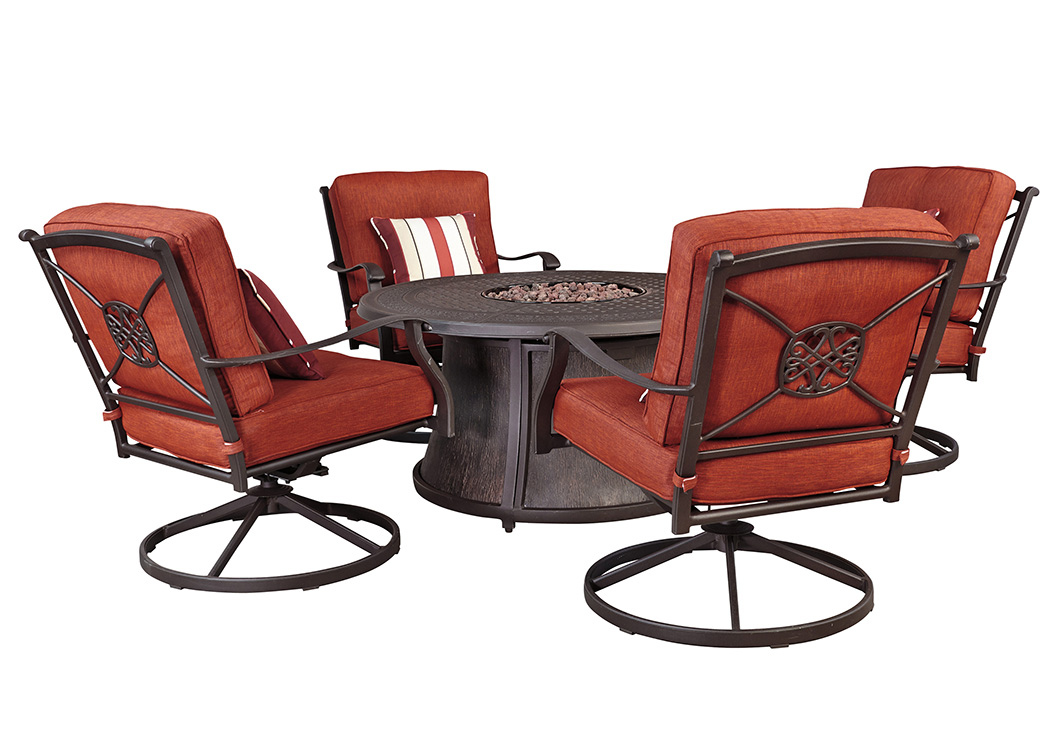 table with swivel chairs arhaus dining curly s furniture burnella round fire pit w 4 lounge outdoor by ashley