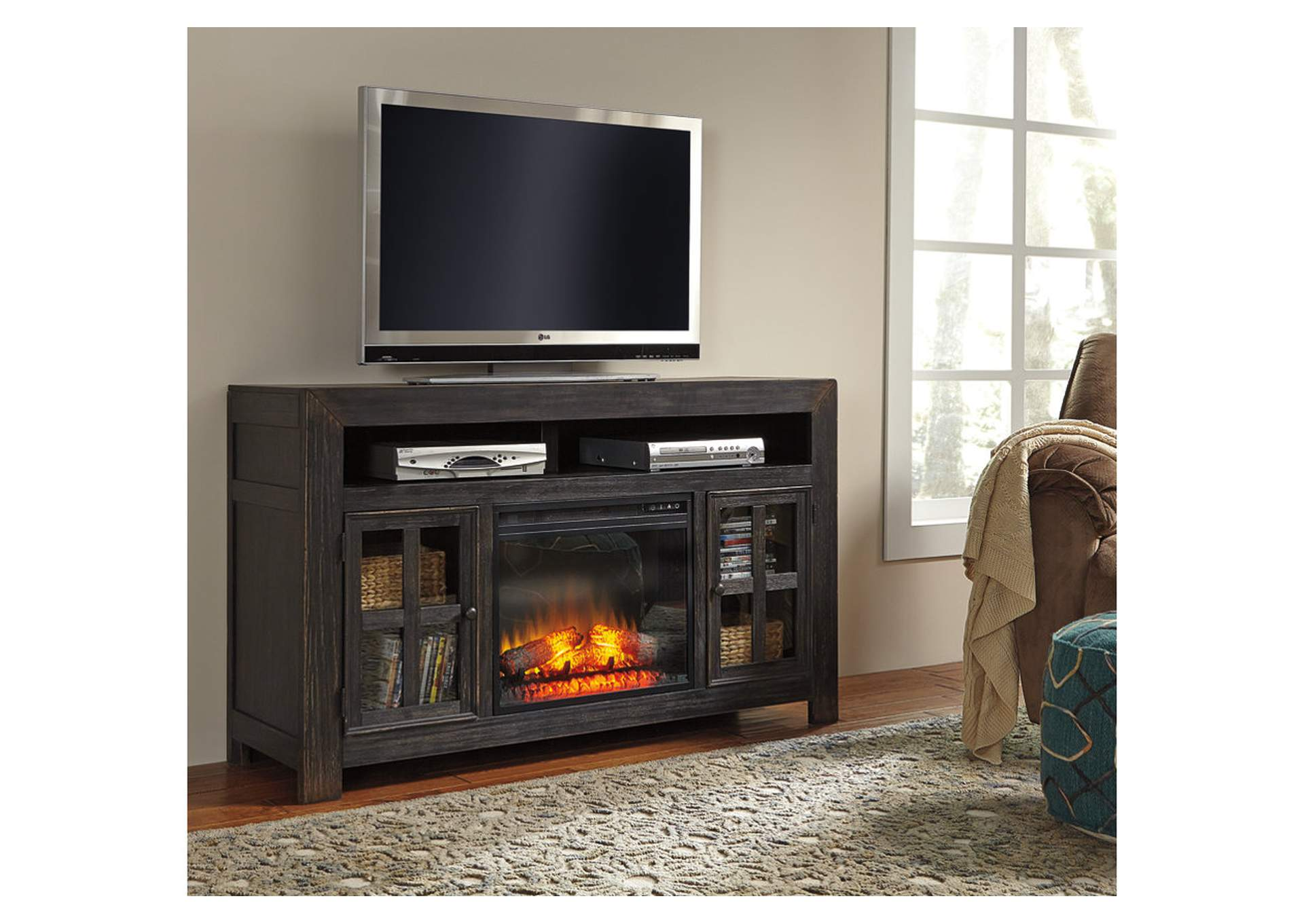 Enjoyable Rogness Dark Brown Lg Tv Stand With Wide Fireplace Insert Complete Home Design Collection Barbaintelli Responsecom