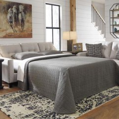 Sofa Sleeper Bed Frame 3 Piece T Cushion Slipcover Living Room Johnson S Furniture Marrero Fog Queen