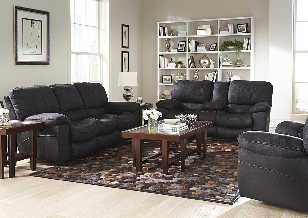 black reclining sofa with console low floor set johnson s warehouse terrance and loveseat w storage cupholders catnapper