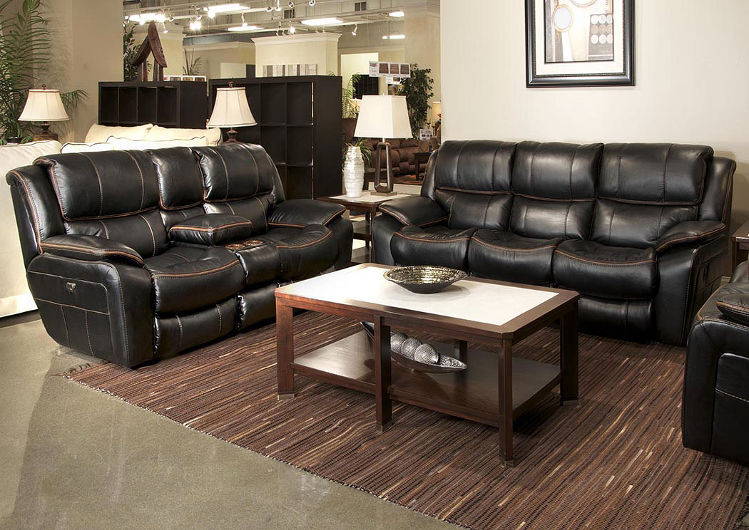 black reclining sofa with console udinese vs atlanta sofascore stanley s furnishings beckett loveseat w storage cupholders usb port