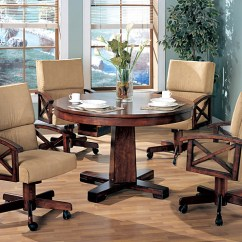 Poker Table Chairs With Casters Camo Computer Chair Orleans Furniture Black & Oak Convertible Dining W/4 Game