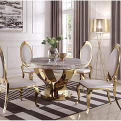 Gold Dining Chairs Intex Inflatable Pull Out Chair Ace Furniture And Decor Kendall Round Ivory Top Table W 4 Coaster