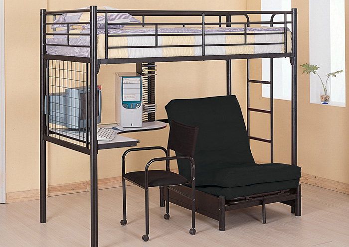 loft bed with desk and futon chair jcpenney dining room covers apex furniture glossy black twin workstation bunk w