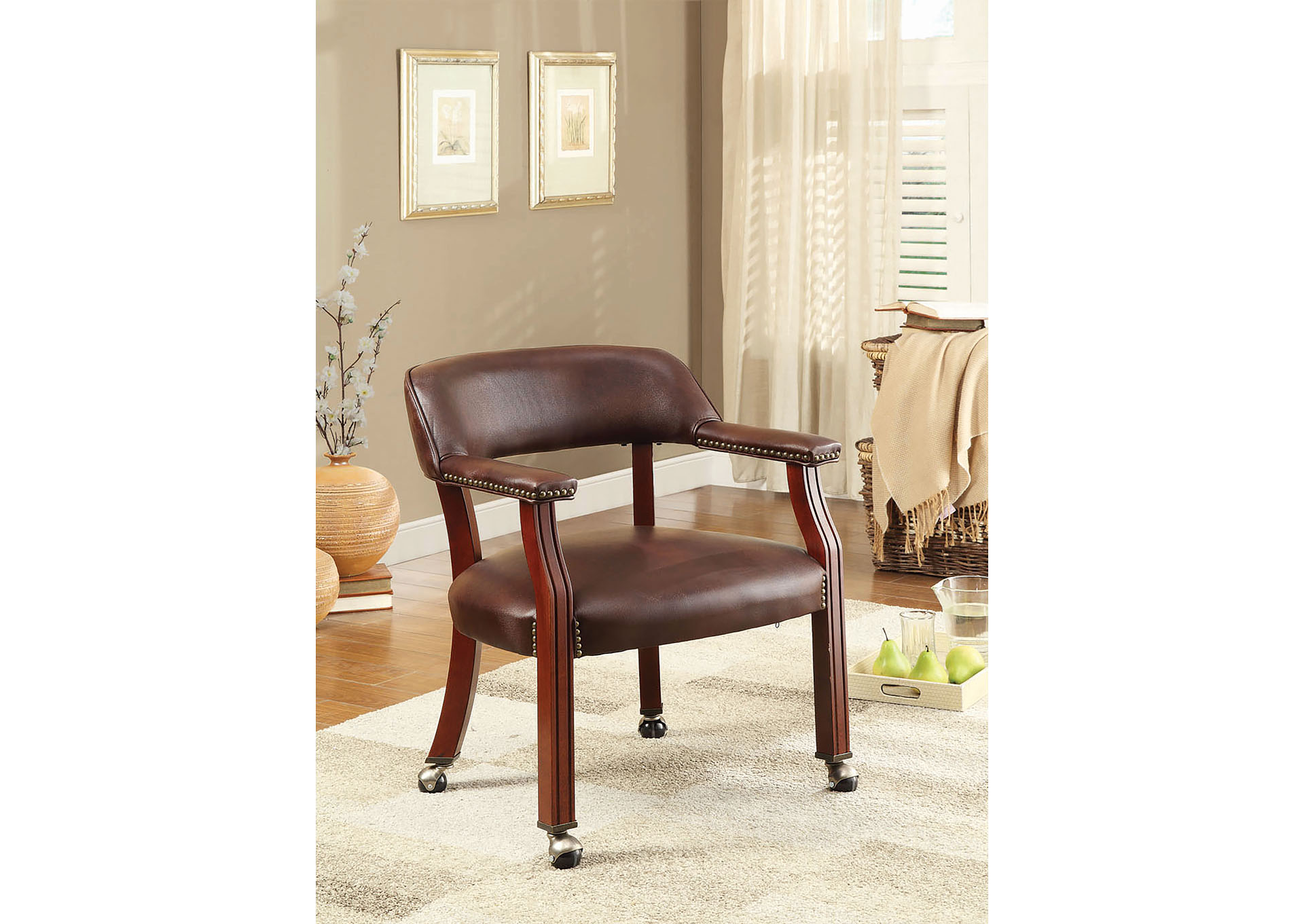 brown office guest chairs hanging chair craigslist brothers fine furniture coaster
