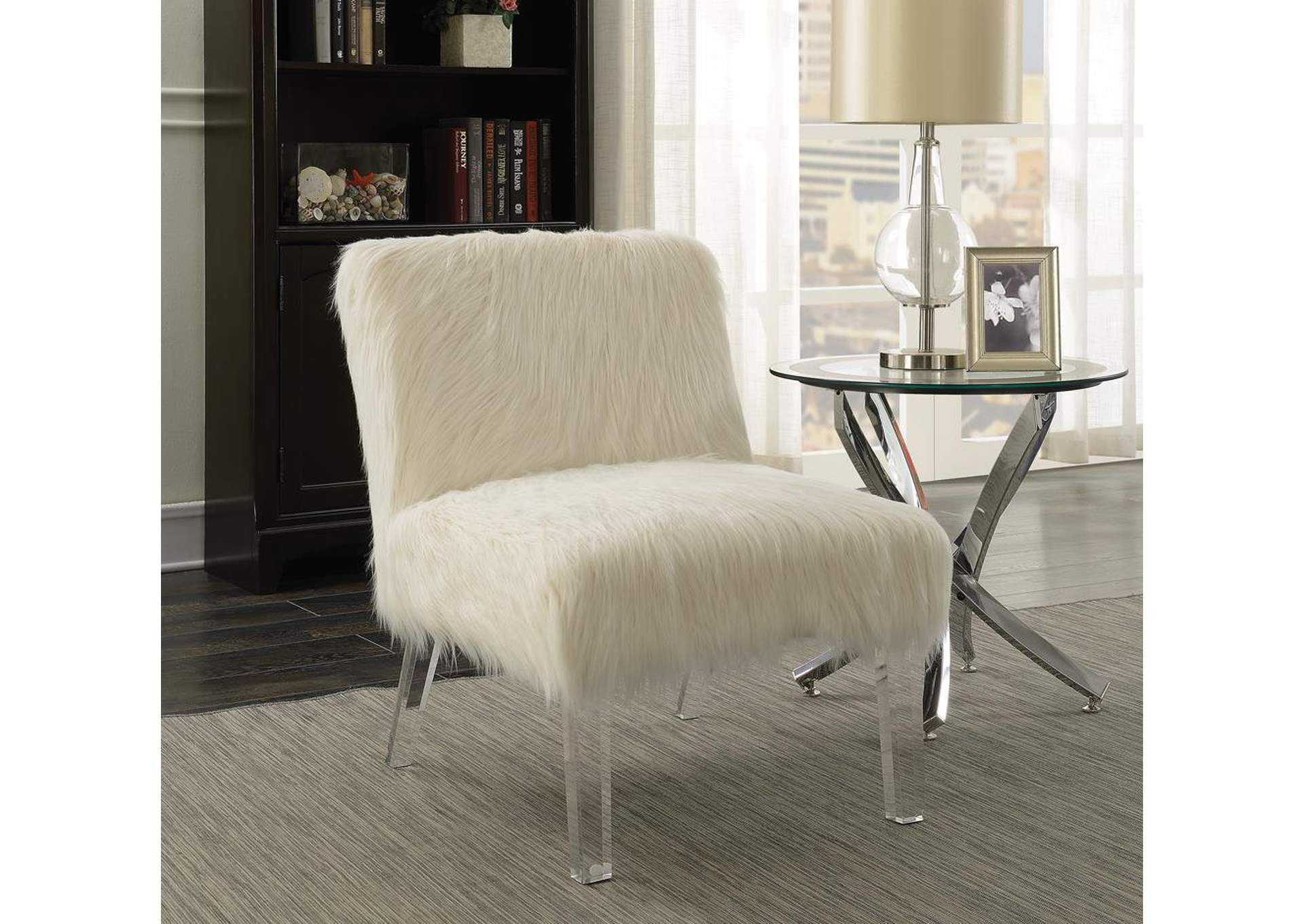 fuzzy white chair folding sling canada home stars furniture accent coaster