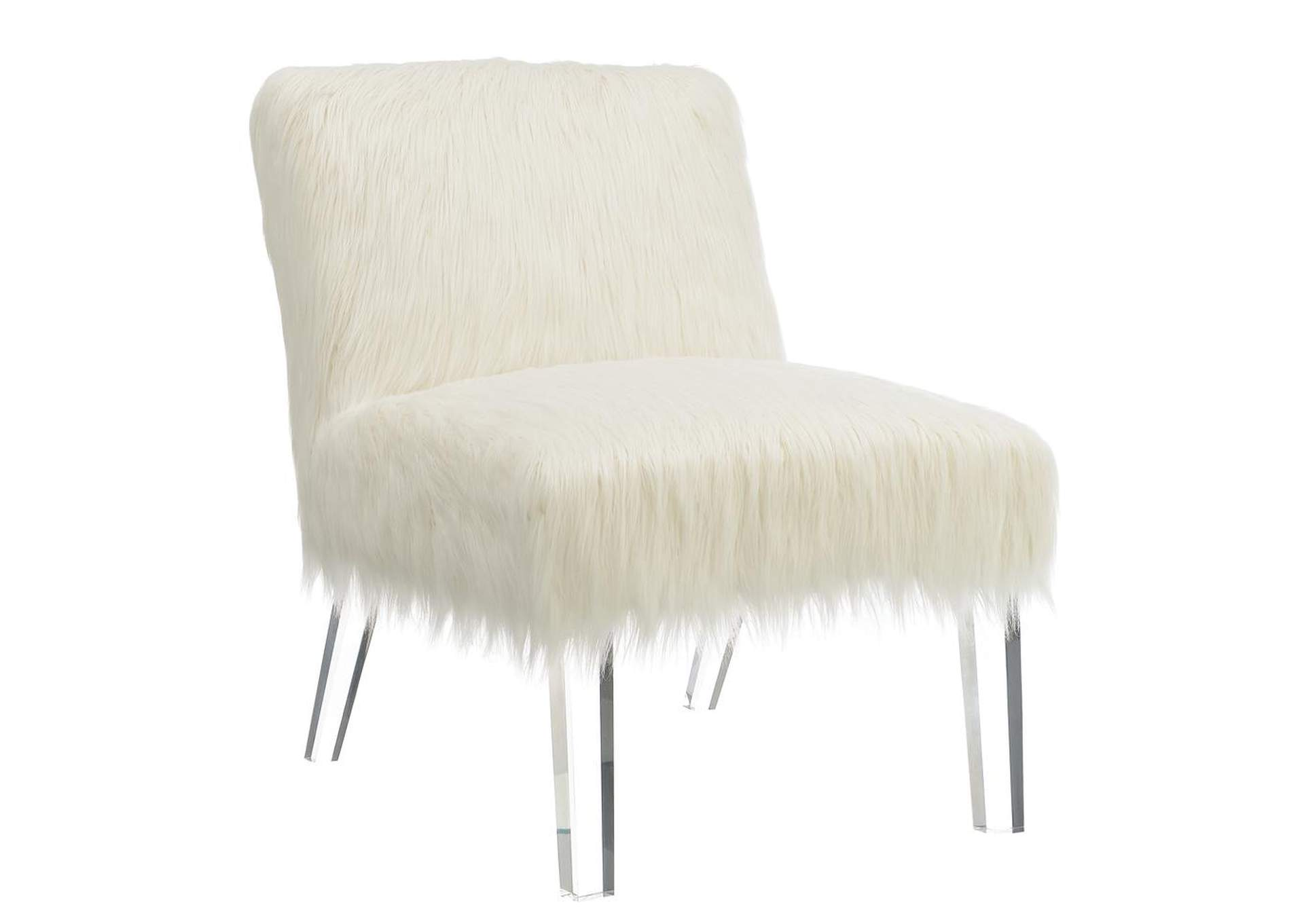 fuzzy white chair vintage salon chairs home stars furniture accent coaster