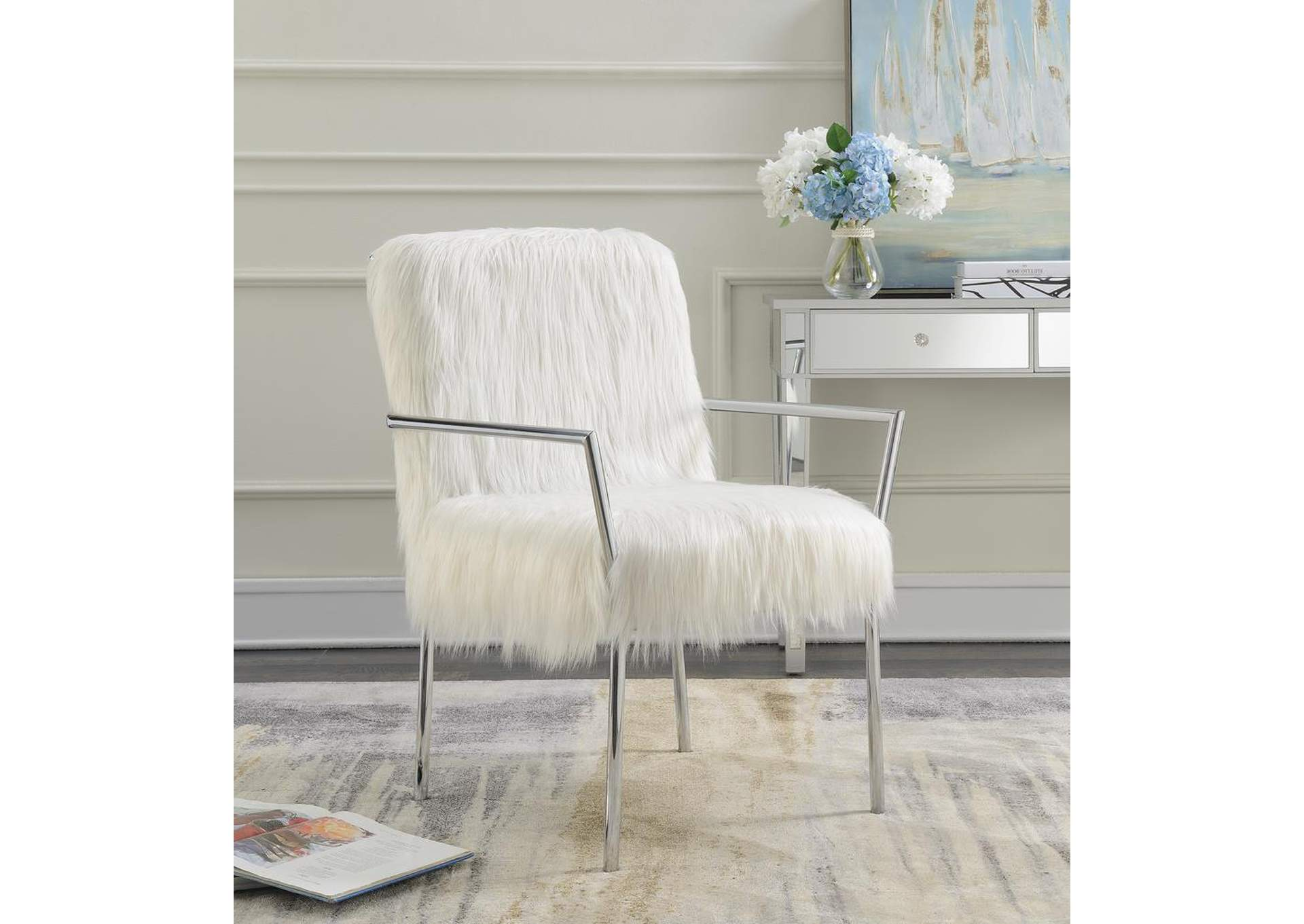 fuzzy white chair leather covers for sale mel s furniture atlantic city new jersey accent coaster