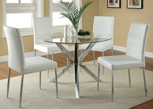 glass top kitchen table coffee bar in frankfort discount warehouse ky dining w 4 white chrome chairs