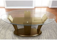 255037 Manhattan l Oval Glass Top Dining Table