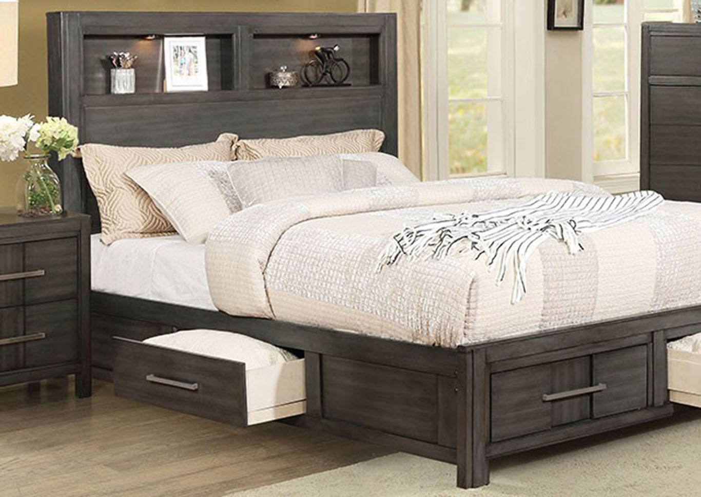 Karla Gray Queen Bookcase Storage Bed Lazy River Furniture