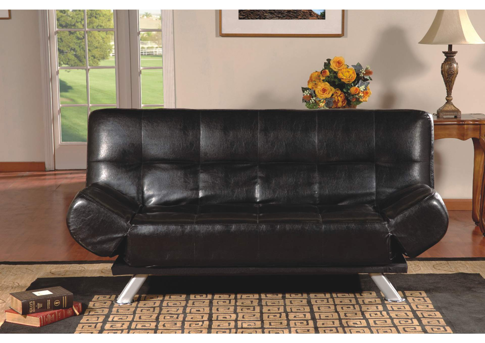 sofa bed black faux leather shelter arm sleeper 17917