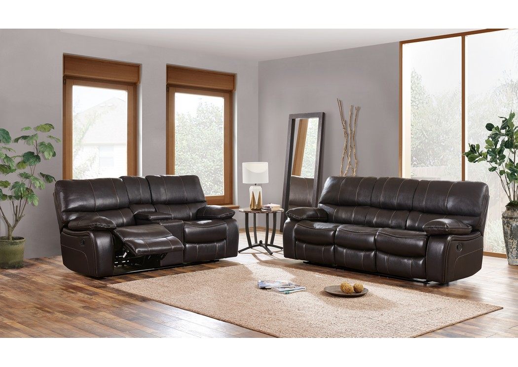 black reclining sofa with console real leather beds uk h a furniture agnes espresso and loveseat w global usa