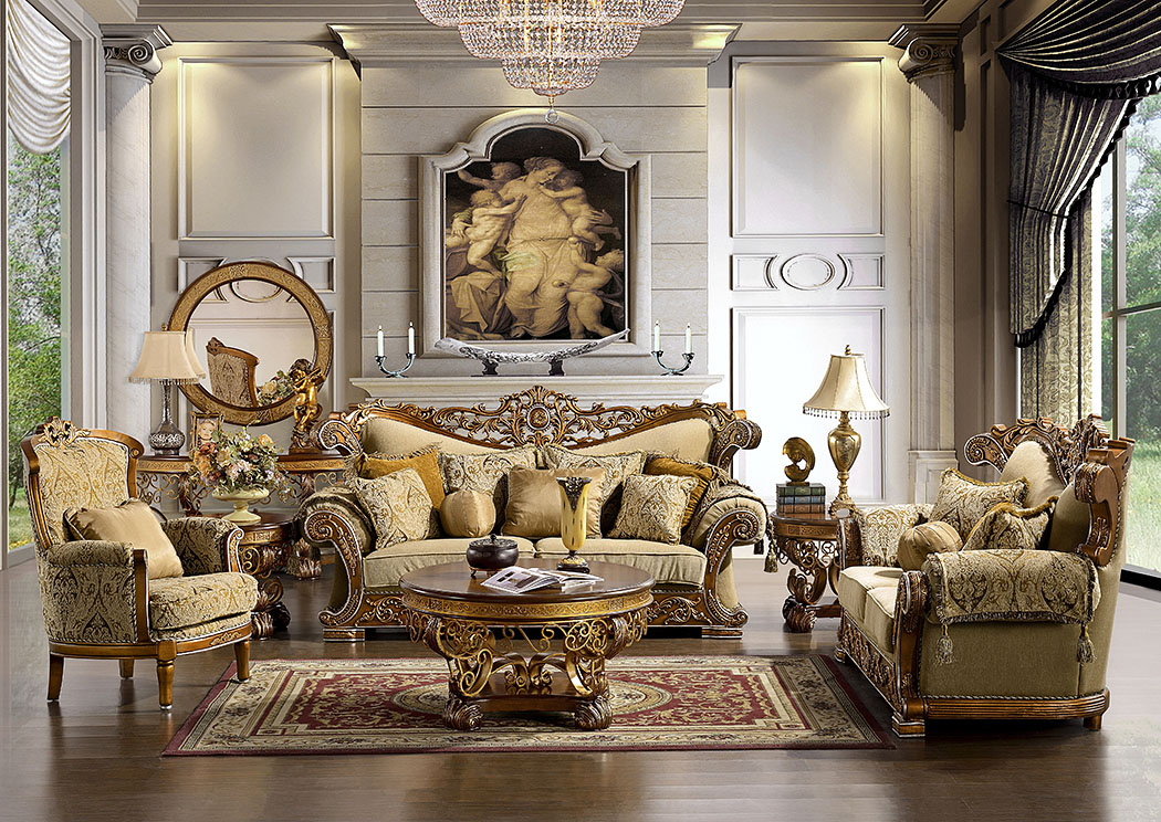 living room with loveseat and chairs big floor vases for sam s furniture mattress royal gold sofa set homey design