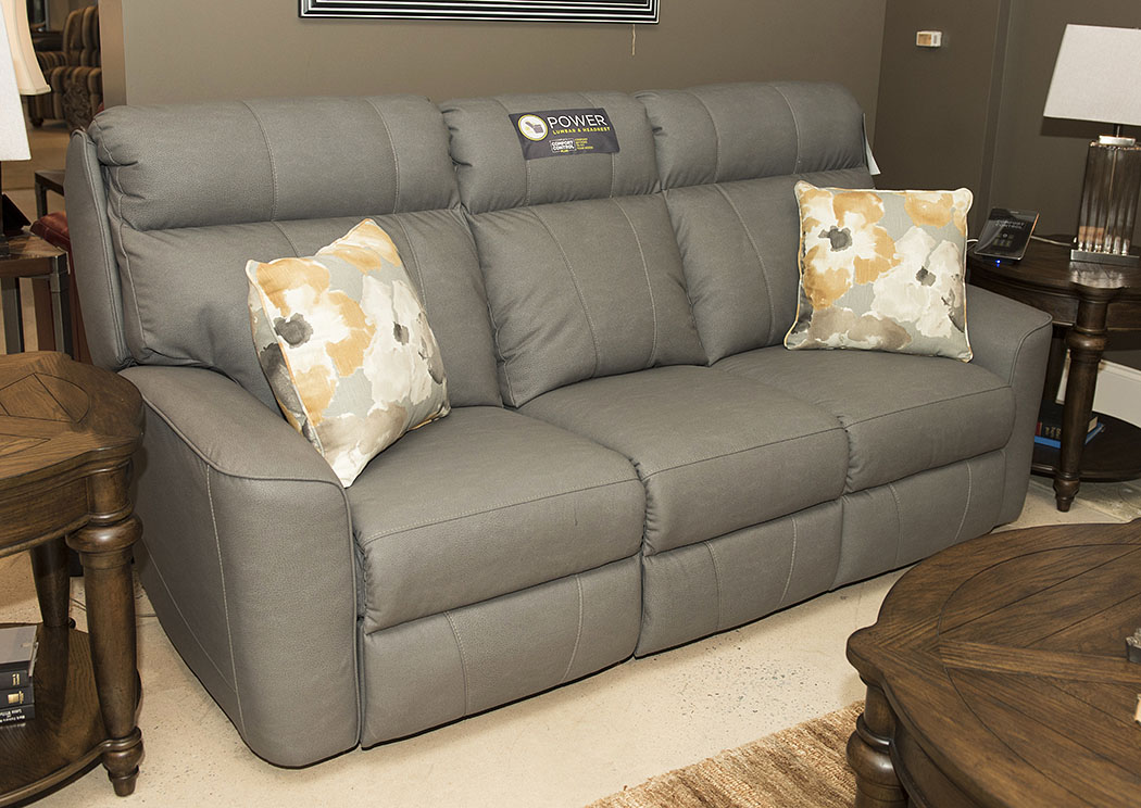 klaussner grand power reclining sofa bunk beds with bed underneath beacon furniture cayman elara pompeii dark gray fabric home furnishings