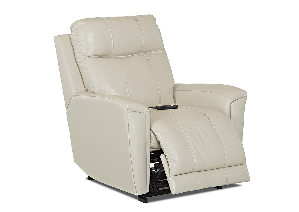 white leather chairs for living room used folding sale center priest vinyl reclining chair klaussner home furnishings