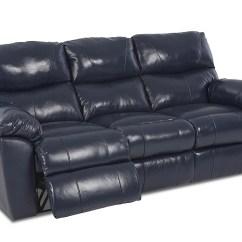 Klaussner Grand Power Reclining Sofa Small Leather Sleeper Beacon Furniture Cayman Odessa Dark Blue Vinyl Home Furnishings