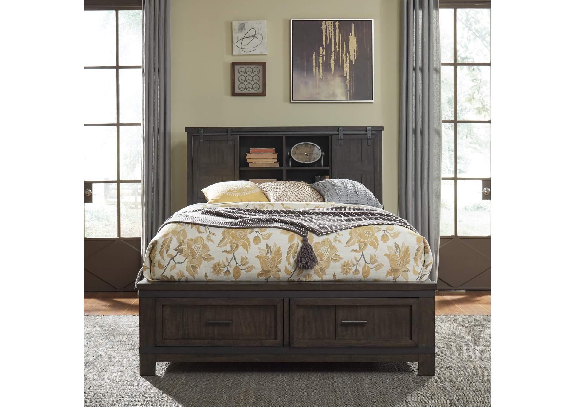 Ivan Smith Thornwood Hills Gray King Storage Bed W Bookcase