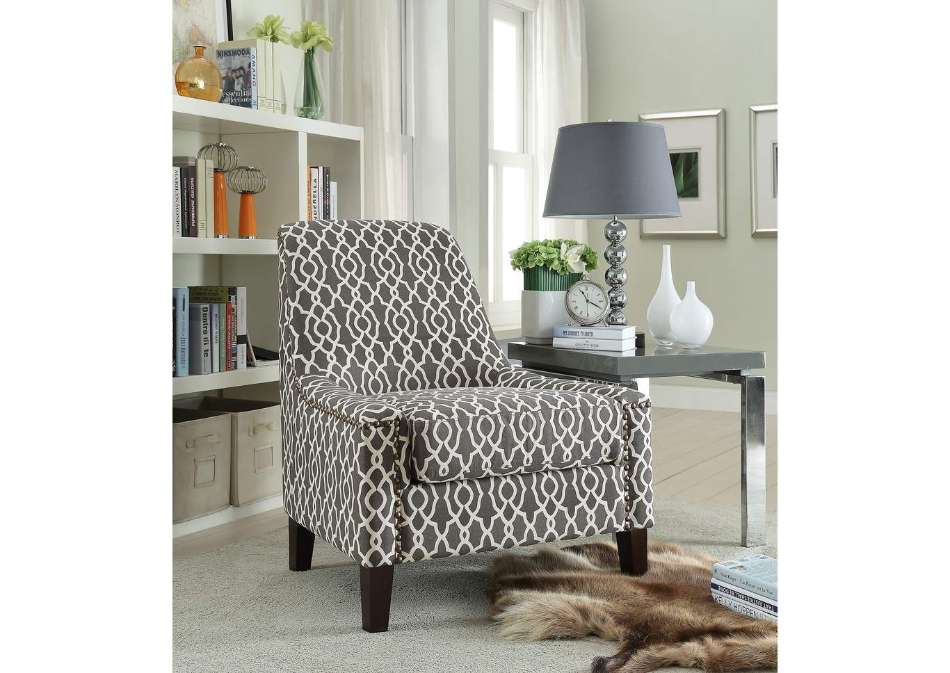 accent chairs gray pattern keekaroo high chair review plush home furniture poundex