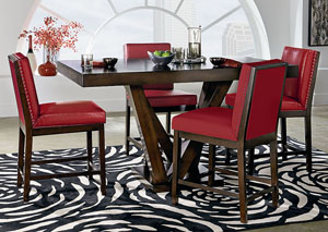 red counter height dining chairs 18 inch doll chair v watts furniture couture elegance dark chocolate pedestal table w 4