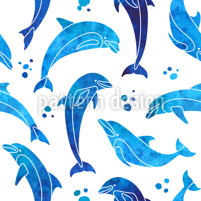 Cute Dolphin Drawing Wallpaper Dolphins In Water Color Seamless Vector Pattern