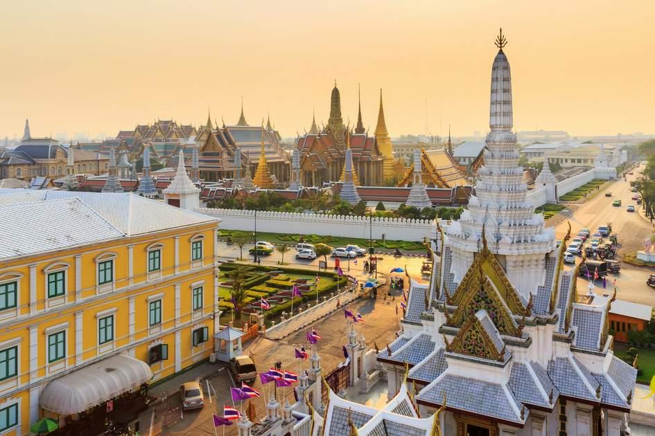 Temple Of The Emerald Buddha Wat Phra Kaew In Sunset