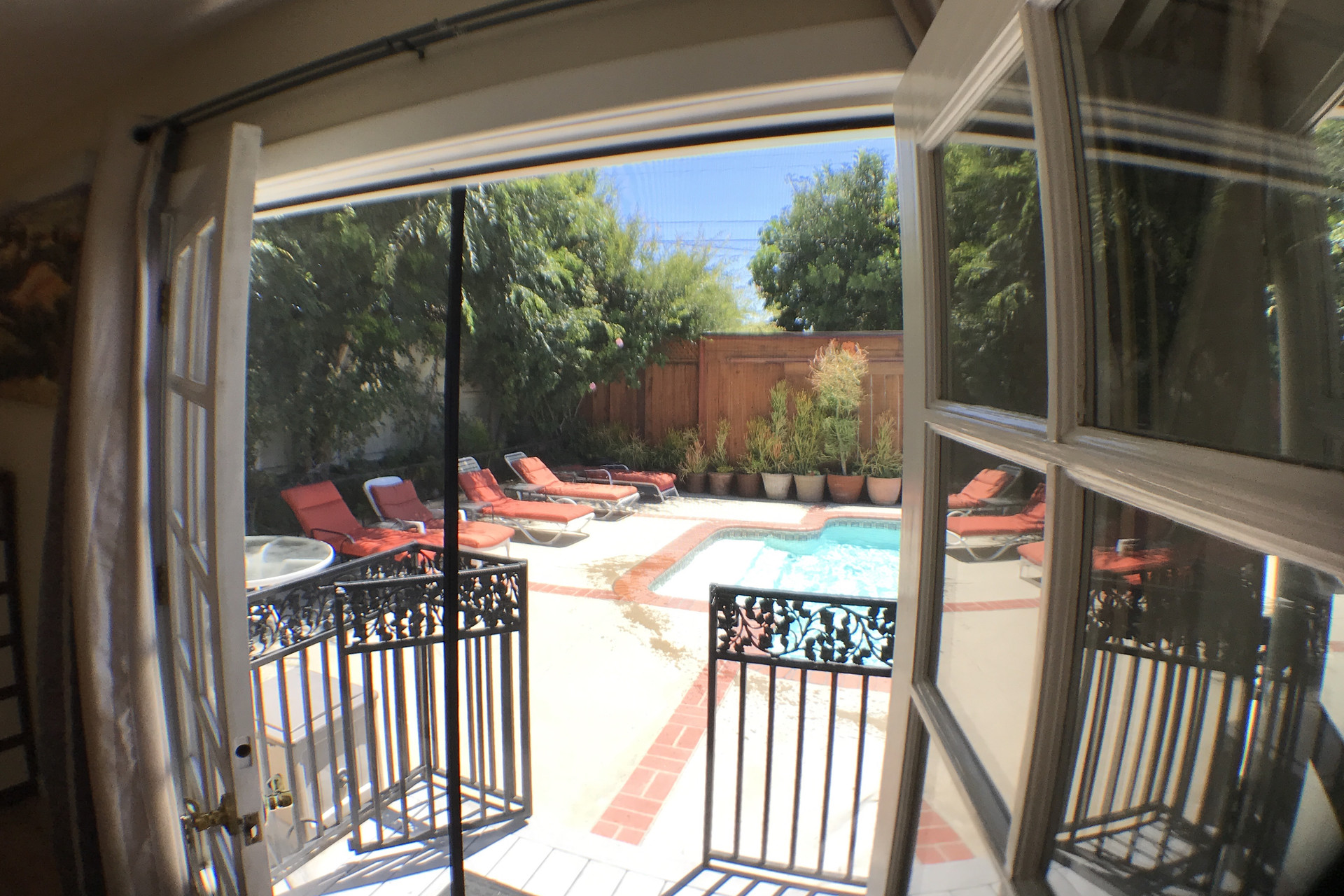 Master Bedroom French Doors Open To A Beautiful Pool And Soft Fountain Sounds To Sleep Room For Rent La Mirada
