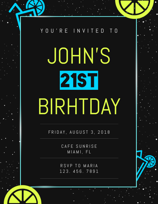 21st birthday invite flyer template