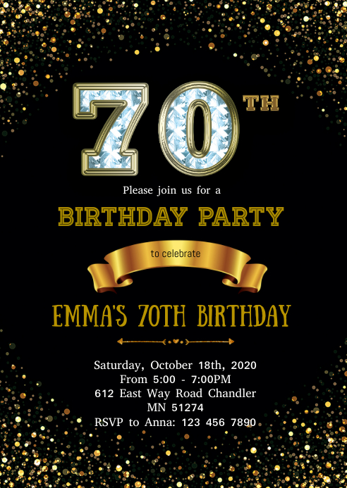 70th birthday invitation template