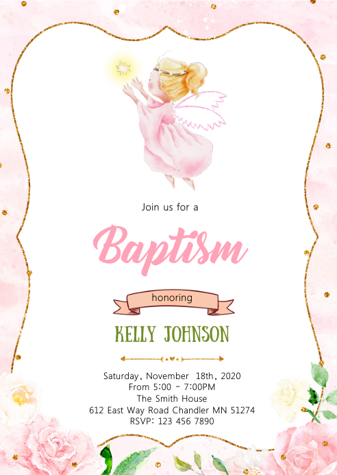 angel baptism party invitation template